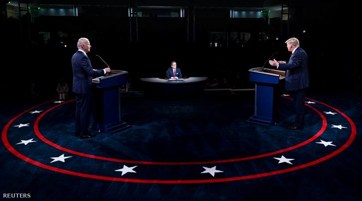 Donald Trump és Joe Biden az első elnökjelölti vitán 2020. szeptember 29-én