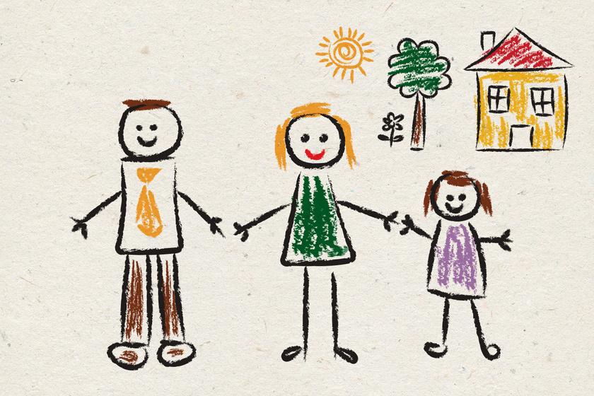 Ez a rajz harmóniáról, jó közérzetről tanúskodik. A kezek szinte összeérnek, a családtagok mosolyognak, a nap süt. Az alakok egymáshoz viszonyított mérete is fontos: a gyerkőc a szüleinél kisebb, de nem túl kicsi.