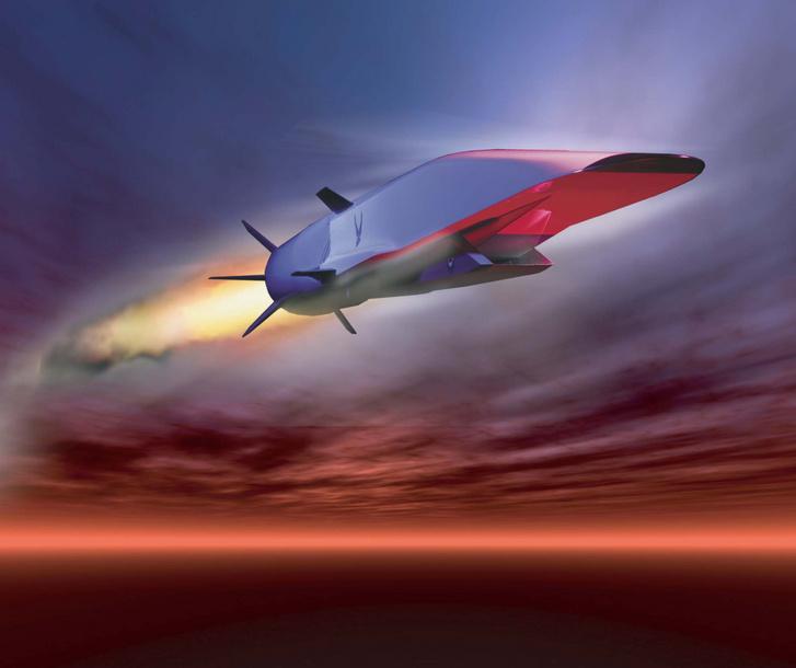 X-51A Waverider amerikai hiperszonikus rakéta, ahogy a művész elképzeli repülés közben