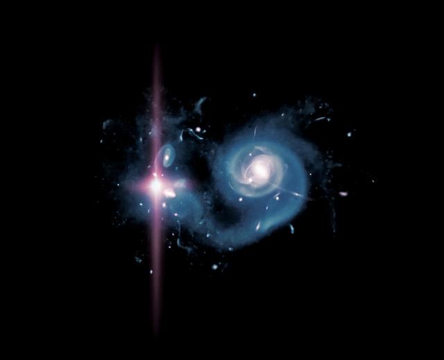 Fantáziarajz egy nagy vöröseltolódású, nagy csillagkeletkezési rátával bíró kölcsönható galaxispár egyik tagjában bekövetkezett szuperfényes szupernóva-robbanásról.