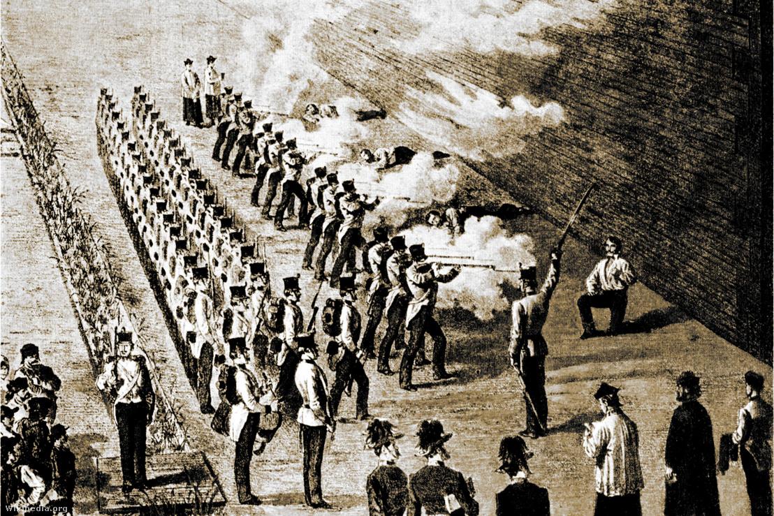 Négy aradi vértanú agyonlövetése az aradi várárokban Lőpor és golyó általi halállal halt (reggel fél hatkor): Lázár Vilmos főtiszt (ezredes), Dessewffy Arisztid tábornok, Kiss Ernő tábornok, Schweidel József tábornok. 12 katona állt fel velük szemben töltött fegyverrel, parancsnokuk kardjával intett és a lövések eldördültek. Kiss Ernő kivételével mindhárman élettelenül buktak a földre. Kiss Ernőt csak a vállán érte a lövés, ezért három katona közvetlenül elé állt, és mindhárman újra tüzeltek.