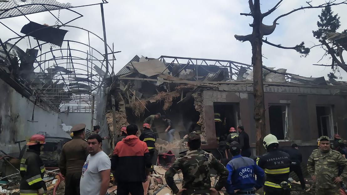 Gandzsa városa az örmény rakétatámadás után, 2020. október 4-én