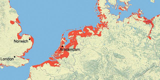 A piros területek víz alá kerülnének, ha 5 méterrel nőne az óceánok magassága. A grönlandi jégtömb 5–7 méterrel emelné meg a vízszintet, ha teljesen elolvadna