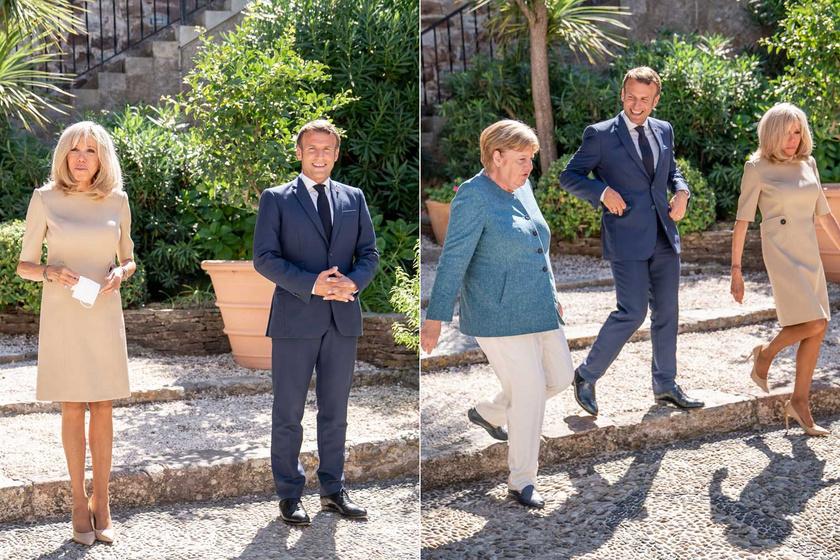 2020 augusztusában a francia elnök és felesége nyári rezidenciájuk, a Fort de Bregancon kertjében fogadta Angela Merkelt. Brigitte Macron fantasztikusan nézett ki.