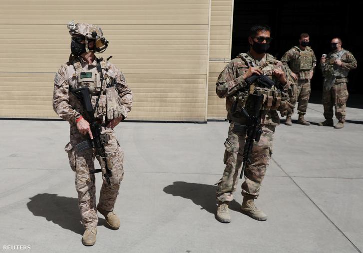 Amerikai katonák a kabuli reptéren 2020. szeptember 17-én
