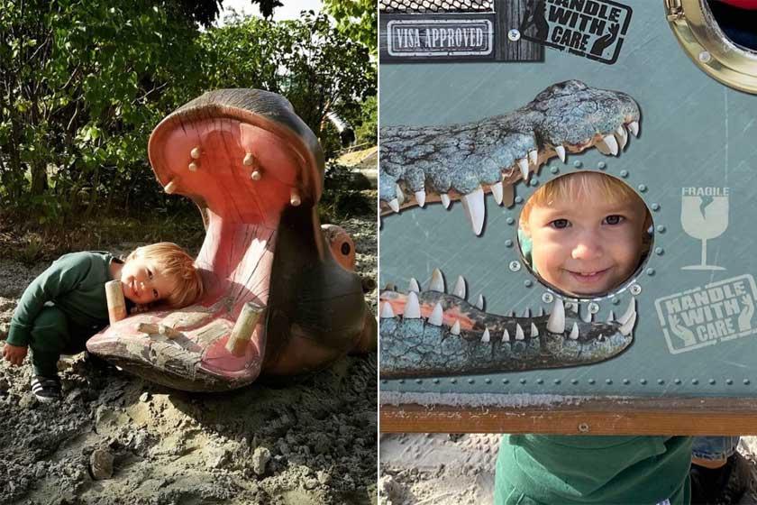 Noé nem fél semmitől, bátran bedugta a fejét a hatalmas víziló és a félelmetes aligátor szájába.