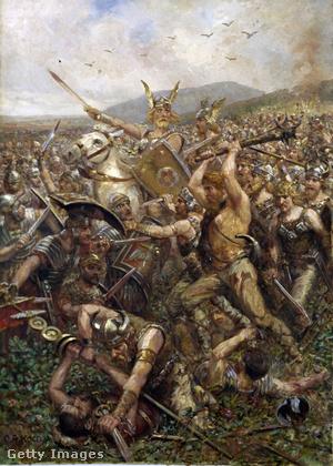 Otto Albert Koch (1866-1920) német festő 1909-es képe a Teutoburgi csatáról