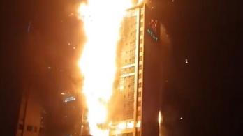 Kigyulladt egy épület, húszemeletnyi lángoszlop pusztított a dél-koreai Uszanban