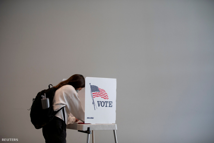 Korai szavazó Ann Arbor Michiganben 2020. szeptember 24-én