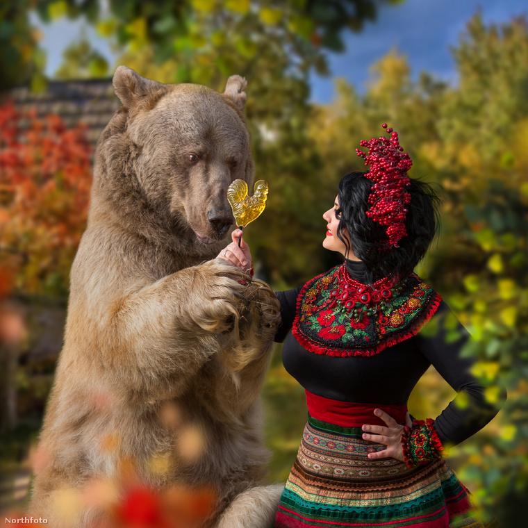 Zhdanova végül arra jutott, hogy egy meseszerű sorozatot készít a medvével, melyben különböző modellek udvarolják körbe