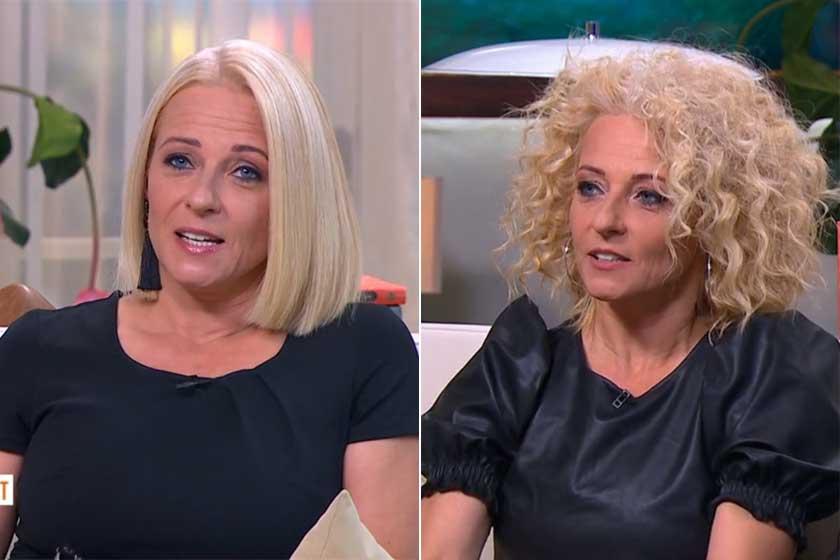 Marsi Anikó megszokott és hullámos hajjal a TV2 Mokka című műsorában.