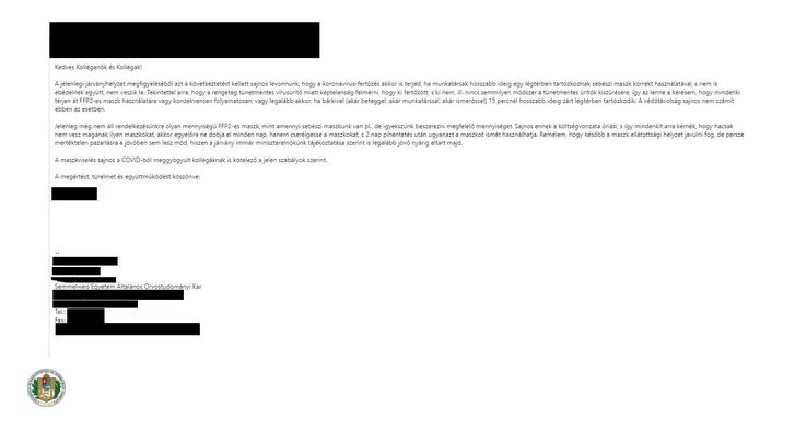 A DK által megszerzett levél a Semmelweis logójával a végén