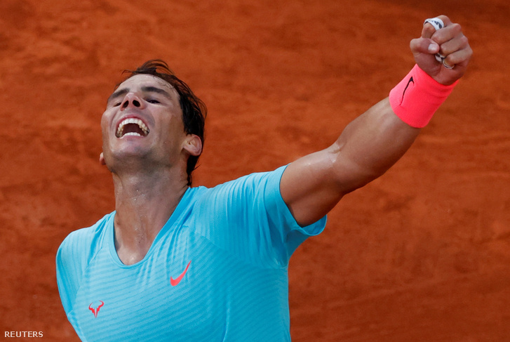 Rafael Nadal öröme az argentin Diego Schwartzman elleni győzelme után.