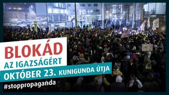 A propaganda ellen tüntet október 23-án Hadházy Ákos és Szél Bernadett