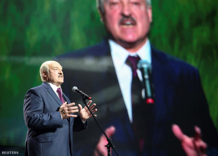 Aljakszandr Lukasenka beszél egy minszki rendezvényen 2020. szeptember 17-én