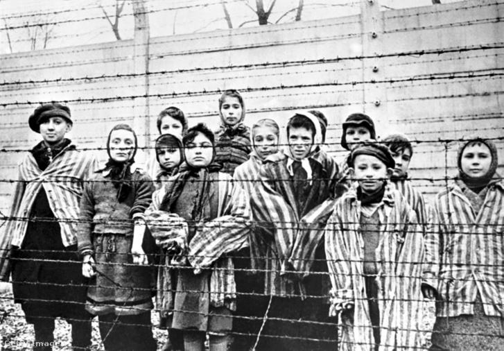 Gyerek túlélők Auschwitzban 1945. január 27-én