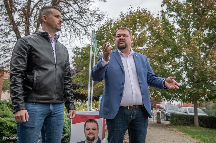 Jakab Péter és Bíró László (jobbra) Bodrogkeresztúron 2020. október 8-án