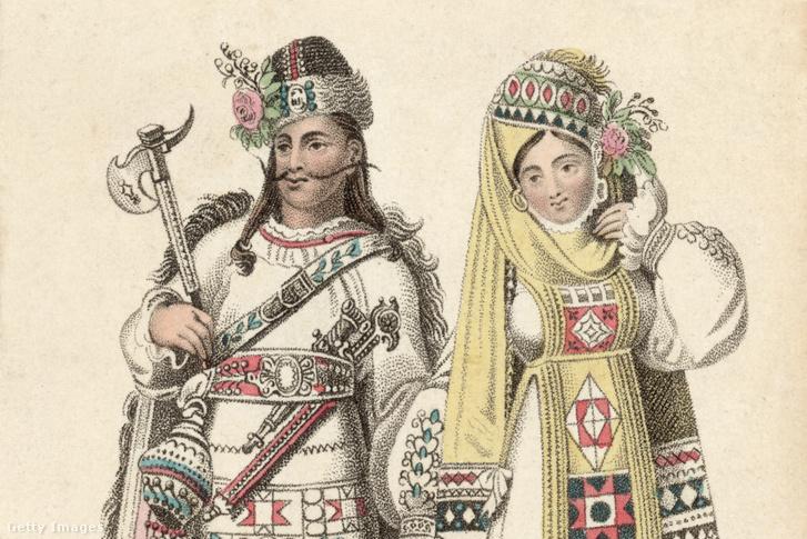 Illír nő és férfi nemzeti öltözetben 1825 körül készült illusztráció