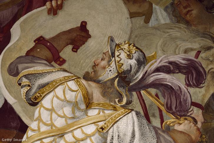 Antenor győzelme Valesio, az illírek királya felett. Luca Ferrari által készített freskó részlet 1650-ből