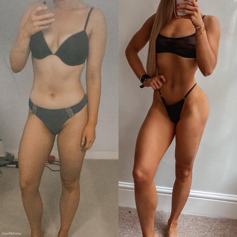 A bal oldali kép azt mutatja, milyen volt a teste, amikor sikerült lefogynia, a jobb pedig azt, milyenné alakult mostanra azáltal, hogy súlyzós edzéseket is kezdett végezni heti ötször
