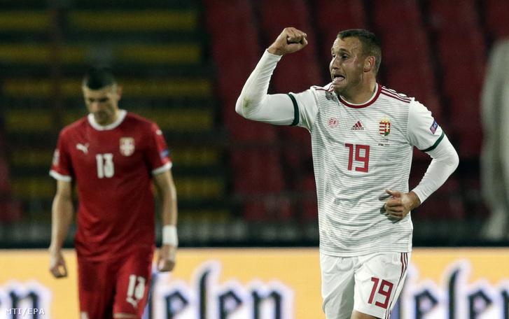 Könyves Norbert ünnepel miután gólt szerzett Szerbia ellen a labdarúgó Nemzetek Ligája harmadik fordulójában játszott Szerbia - Magyarország mérkõzésen Belgrádban 2020. október 11-én.