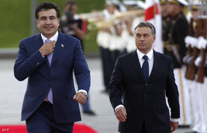 Mikheil Saakasvili és Orbán Viktor 2012. szeptember 26-án Tbilisziben