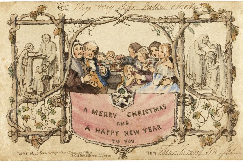 Az első karácsonyi képeslapok egyike.