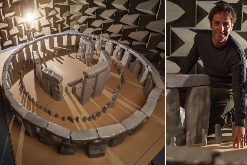 A Stonehenge-modell és Trevor Cox.