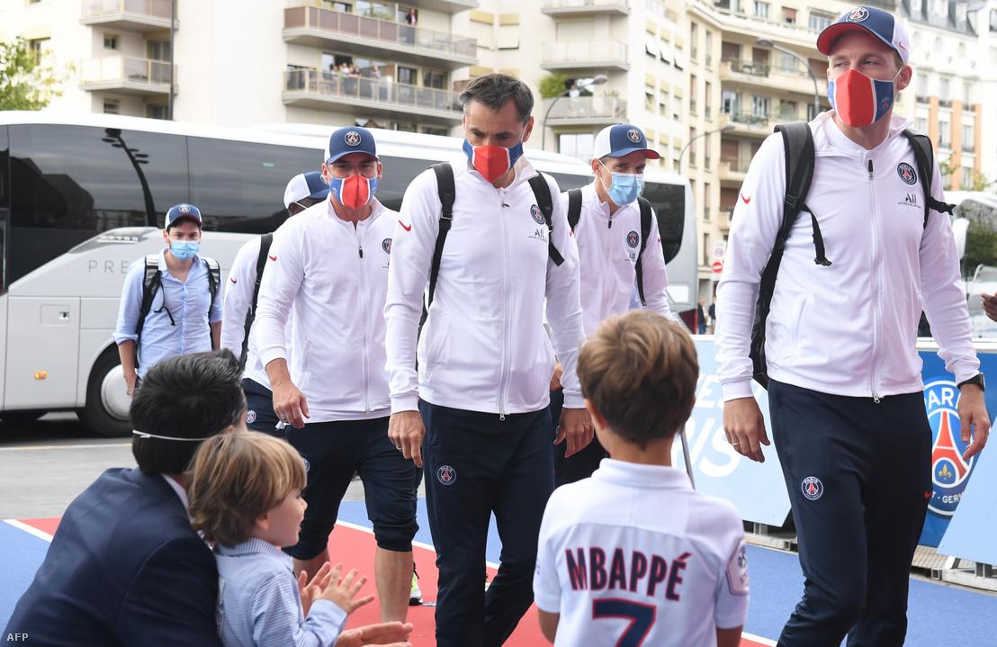 Lőw Zsolt, Arno Michels, Thomas Tuchel és Nicolas Mayer Párizsban 2020. augusztus 24-én.