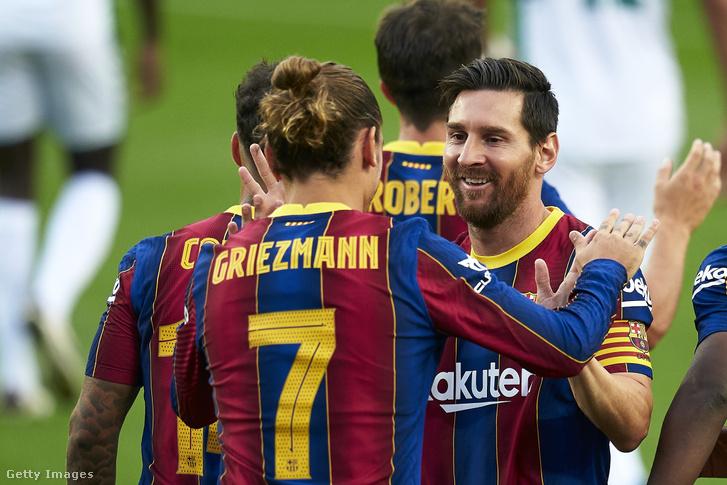 Lionel Messi és Antoine Griezmann az Elche CF elleni mérkőzésen Barcelonában 2020. szeptember 19-én