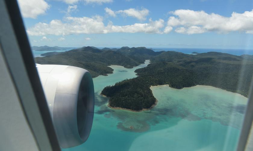 A Whitsunday-szigetek a járatról.