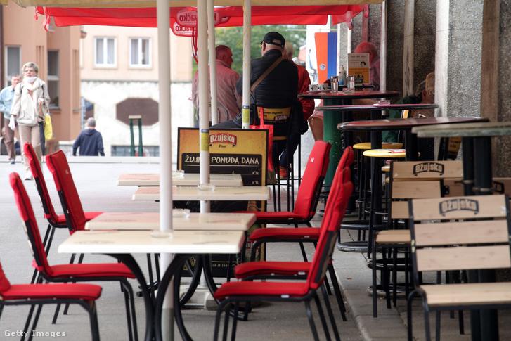 Vendéglátóhely Zágrábban 2020. májusban