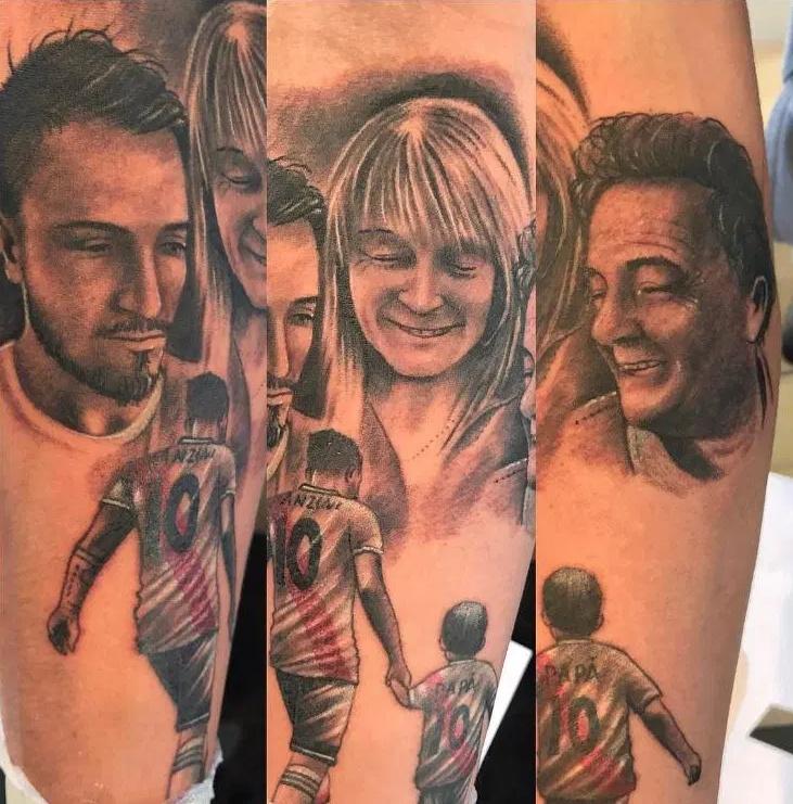 Lanzini tetoválása: a felső részen szüleivel, alatta kisfiával látható.