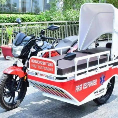 Az Xtreme 200R motorkerékpárból átalakított mentőmotor