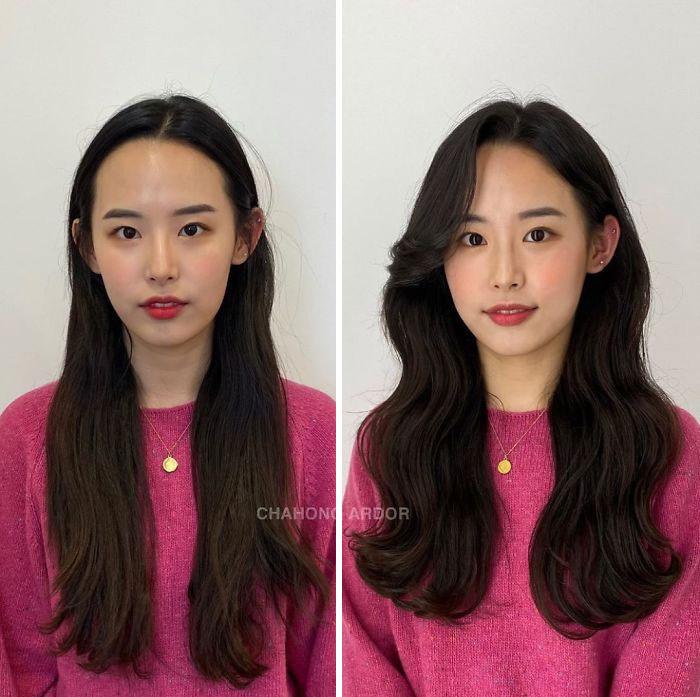 A fodrász sokkal dúsabbnak ható frizurát varázsolt a fiatal nőnek. A frufru és a vágás is sokkal jobban passzol az arcához.