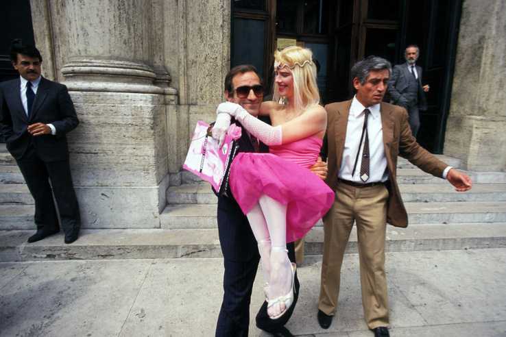 Caption:ROME ITALY - JUNE 2: The porn star in art Cicciolina candidate for the Radical Party  during the election campaign for the parliamentary elections on June 2 1987 in Rome Italy.(Photo by Stefano Montesi - Corbis/Getty Images)