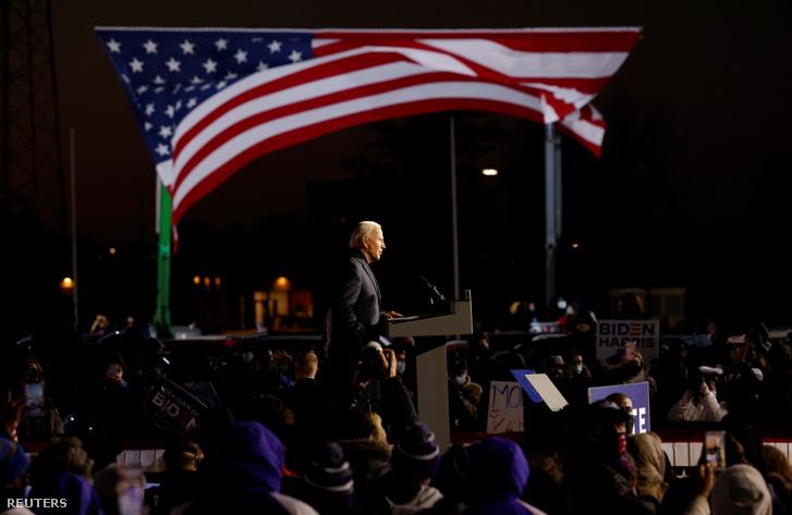 Joe Biden detroiti kampányon 2020. október 31-én