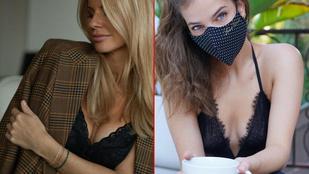 Palvin Barbara a maszkviselést, Mádai Vivien kedvenc melltartóját reklámozza dekoltáltan