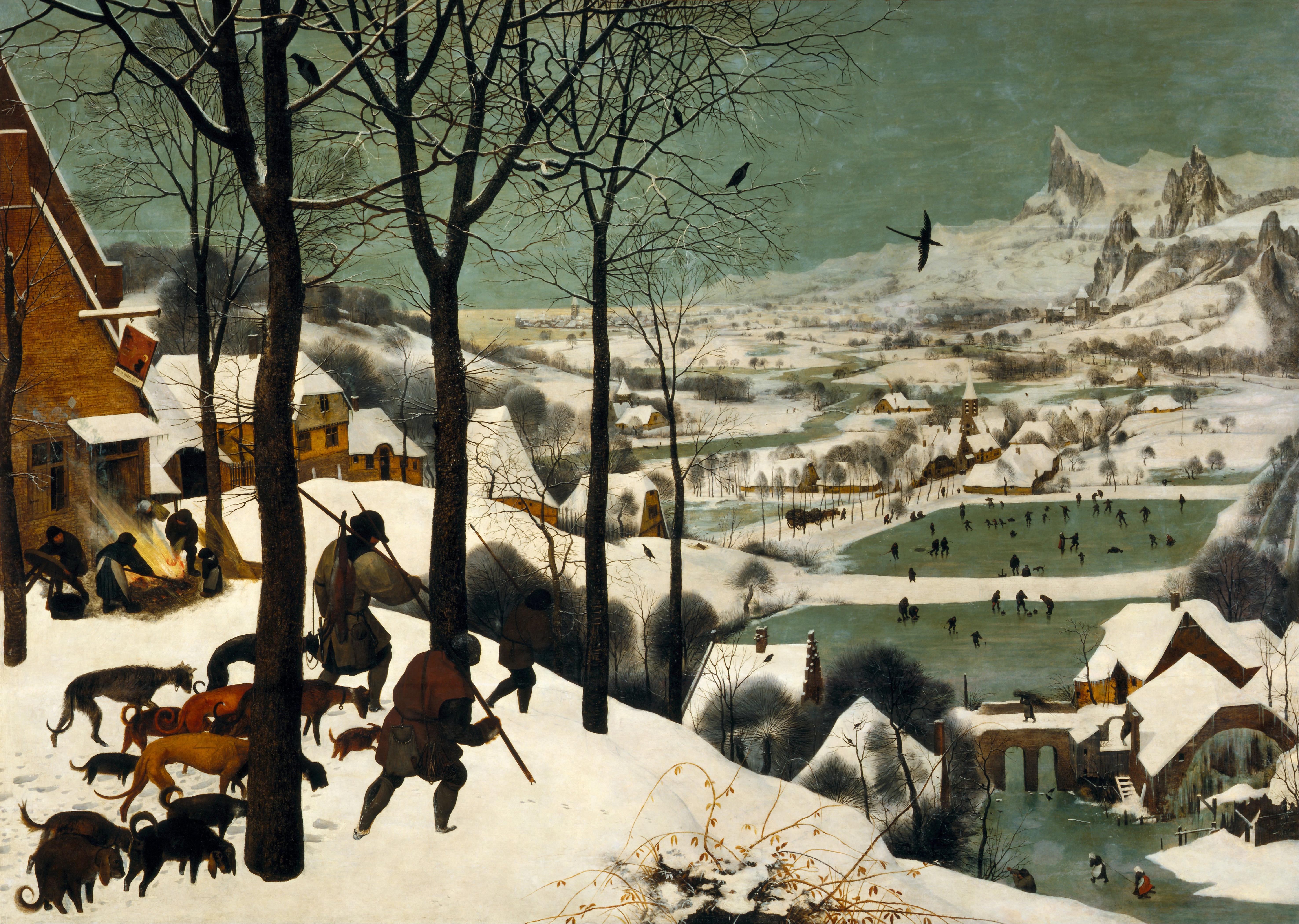 Ki készítette 1565-ben a Vadászok a hóban című festményt?