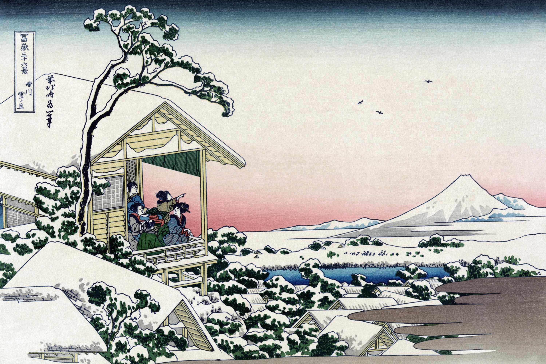 A teaház vendégei a Fudzsi felé tekintenek a nyomaton. Ki az alkotó?