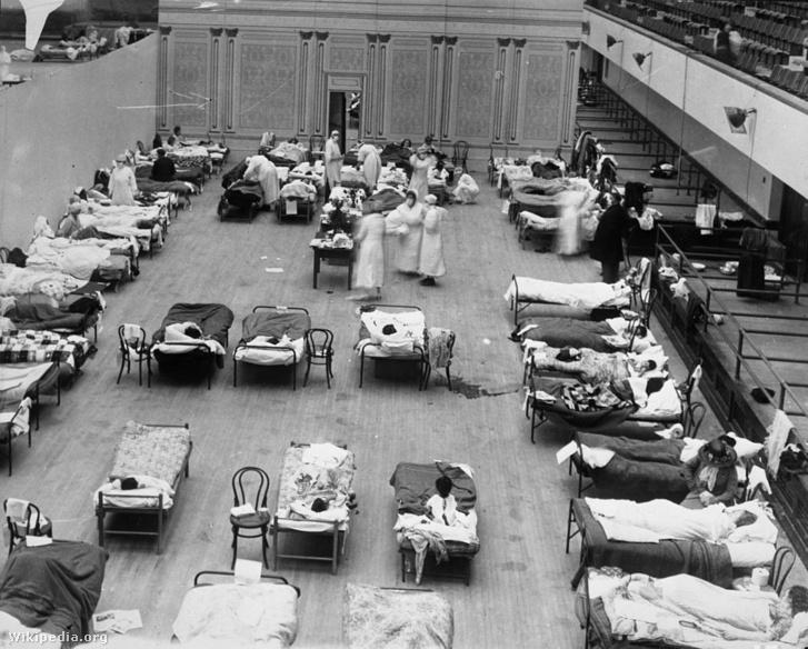 Influenzás betegek kórháza. Oakland, 1918