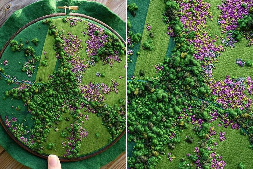 Ez a varászlatos lápvidék 65 munkaórájába telt a művésznek. Ha közelebbről megnézed, még a zöld tájban megbúvó patakot is jól láthatod.