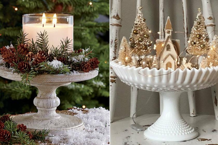 Egy tortaállványon vagy a süteménykínálón nem csak a finomságok mutatnak jól: rakj rá gyertyát, vedd körbe termésekkel és gallyakkal, vagy egyszerűen halmozd rá a korábbi években összegyűjtött karácsonyi díszeket.