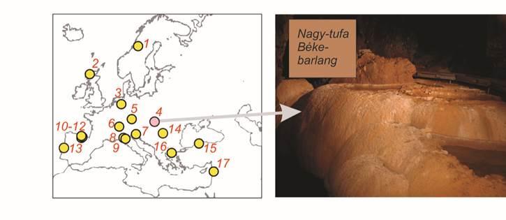 A vizsgált cseppkőrekordok eloszlása és a Béke-barlang Nagy-tufa képződménye