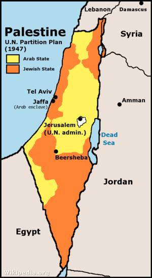 1947-es ENSZ rendezési terv Palesztina felosztásáról.  (sárga=arab terület, narancssárga=izraeli állam, Jeruzsálem ENSZ-igazgatás alatt)
