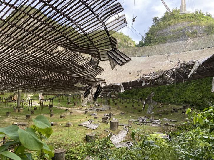A 2020. augusztusi baleset okozta kár az Arecibo Obszervatóriumban