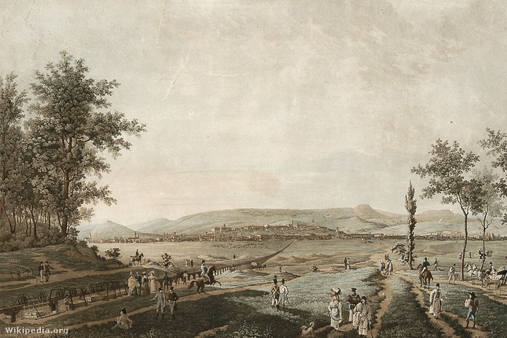 Pest és Buda városának képe Rákos mezejéről 1829-es rajzon