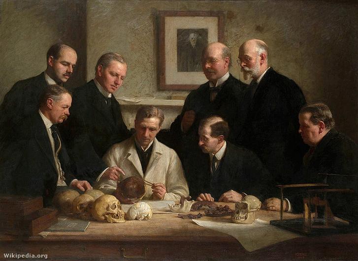A piltdowni koponyát vizsgáló tudósok. Dawson a hátsó sorban áll, jobbról a második.
