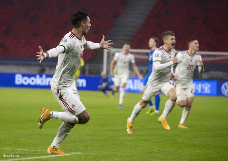 Szoboszlai Dominik (b) gólja döntötte el az Izland elleni pótselejtezőt