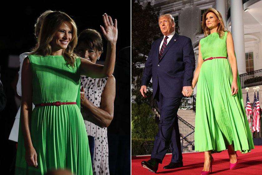 Melania Trump elragadóan festett ebben a lime-zöld színű Valentino kreációban 2020 augusztusában.